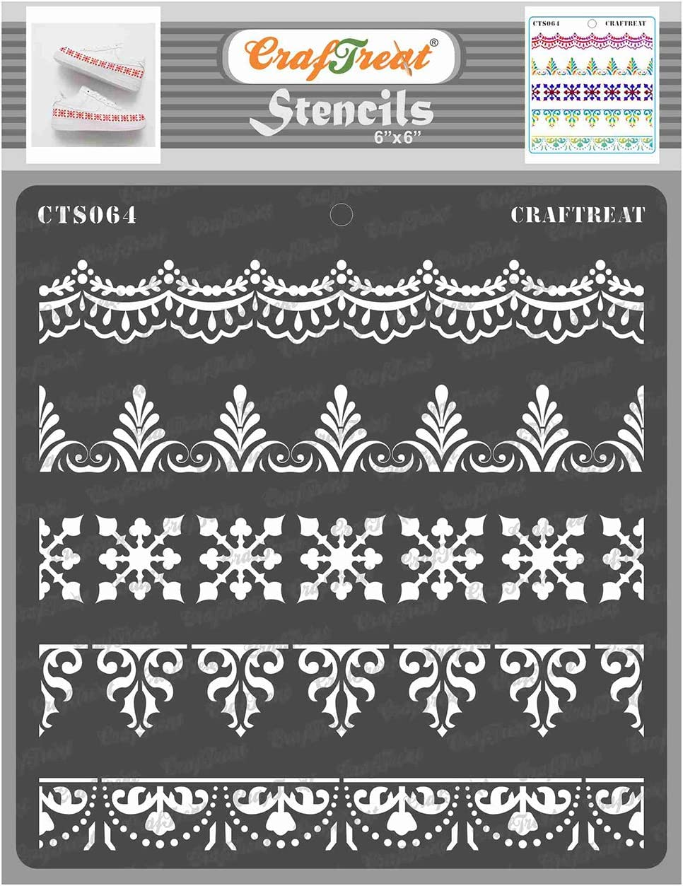 CrafTreat Ornate Border Stencils for Painting on Wood, Canvas, Paper, Fabric, Floor, Wall and Tile - Ornate Borders - 6x6 Inches Each - Reusable DIY Art and Craft Stencils