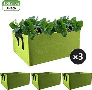 Nardo Visgo Fabric Raised Garden Beds 3Pcs 10 Gallon Plant Grow Bags for Vegetables Rectangle Non-Woven Fabrics Aeration Planting Bags Planter Pot with Handles for Flowers Vegetables Plants (Green)