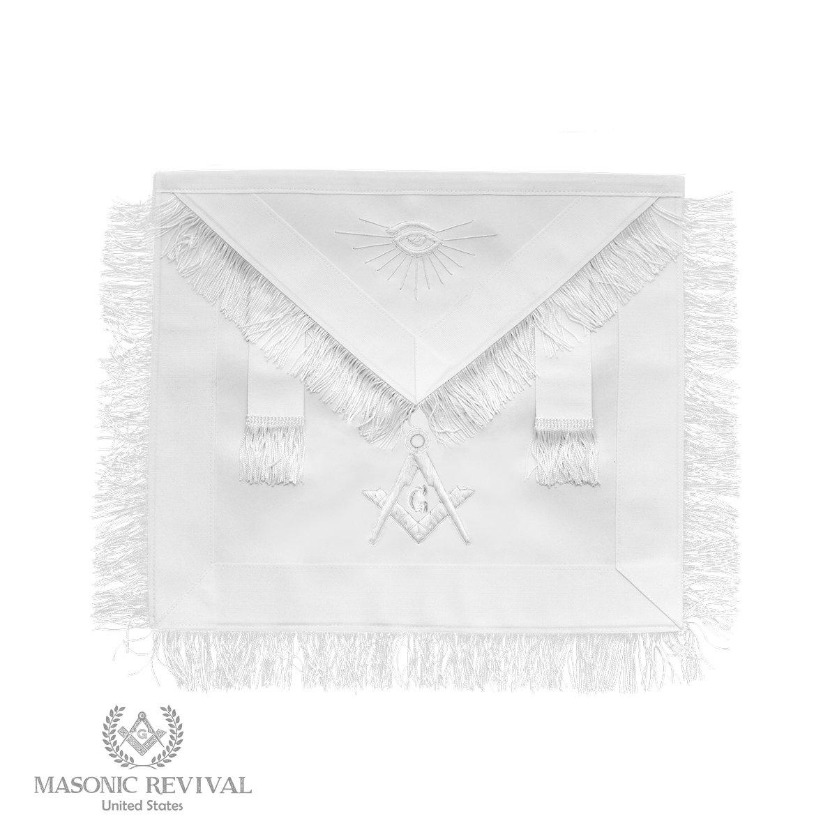 Bianco Master Mason White Apron by Masonic Revival by Masonic Revival