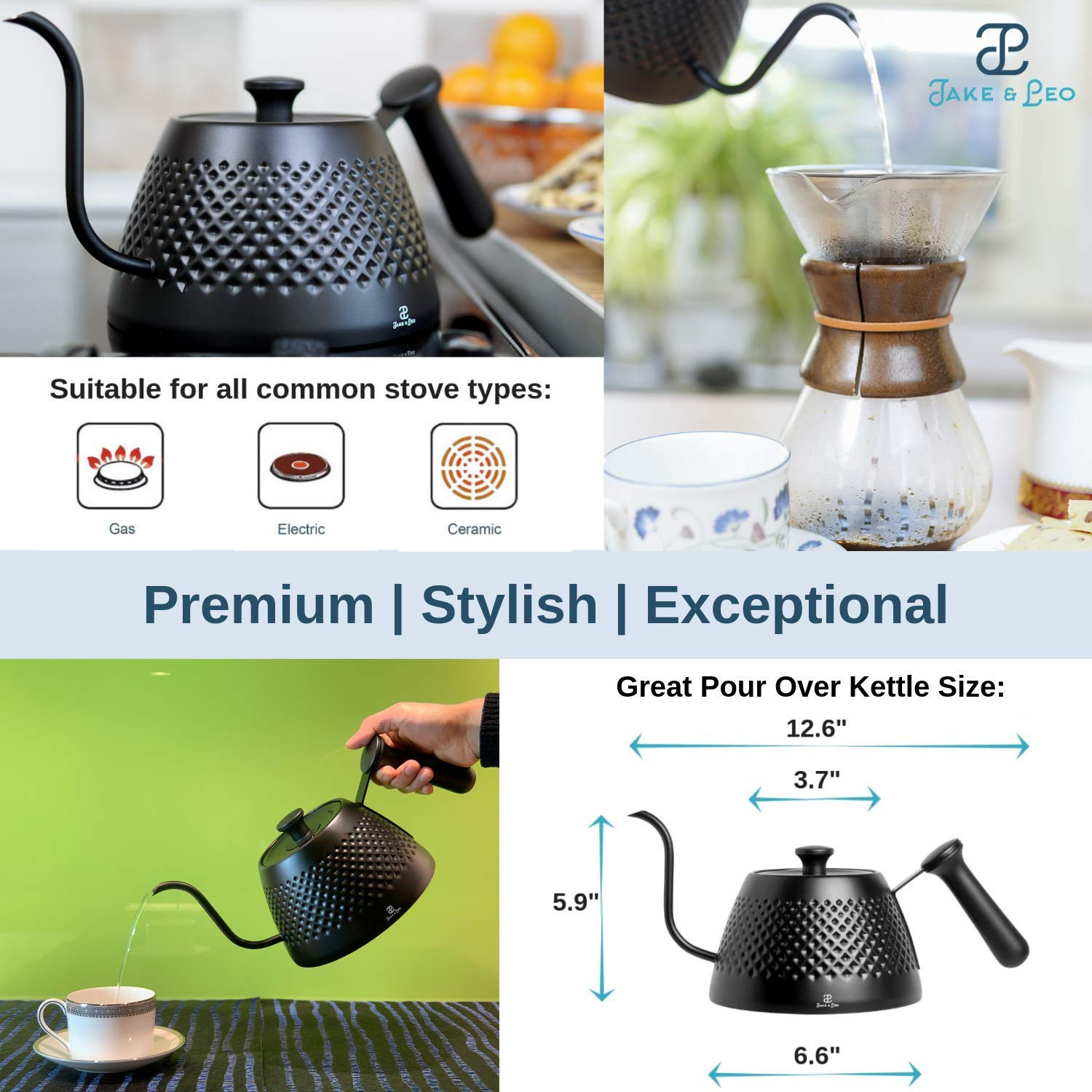 Jake & Leo Pour Over Kettle - Premium Stylish Dimpled Design, Stainless Steel - Gooseneck Specialty Kettle for Kitchen Stovetop - 34oz, Matte Black, Long Spout for Boiling, Pouring; Brew Coffee & Tea by Jake & Leo (Image #2)