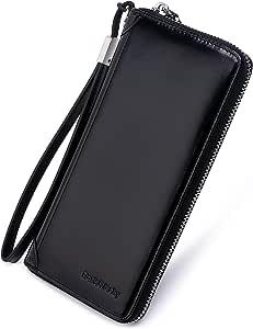Women Wax Genuine Leather Wallet RFID Blocking Clutch with Zipper Wrist Strap (Black)
