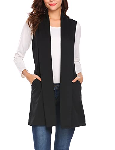 Beyove Women's Sleeveless Shawl Open Front Drape Cardigan Vest Black XL…