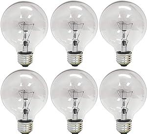 GE 12980-6 40 Watt Globe G25 Light Bulb, Crystal Clear, 18-Pack
