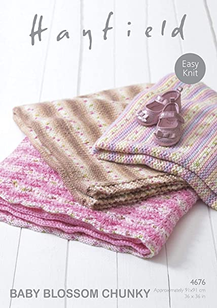 Sirdar Hayfield 4676 Knitting Pattern Easy Knit Baby Blankets In