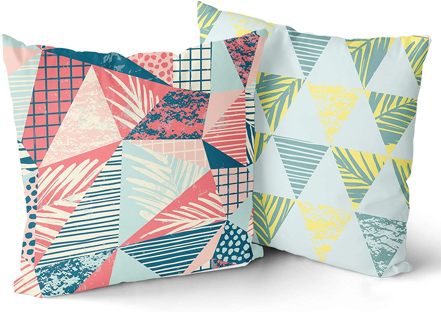 """Multicolor Geometric Throw Pillow Covers Set of 2 Decorative Cotton Triangle Irregular Shape Pillow Cover Beautiful Double-Sided Printing Tropical Leaves Square Pillowcases for Home Sofa 18""""x18"""""""