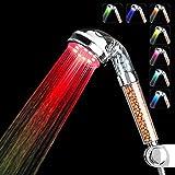 LED alcachofa de ducha Couradric spa de alta presión alcachofa de ducha negativo Ionic Spray Rociador de mano alcachofa de ducha 200% alta presión 30% ahorro de agua showerhead- piel seca y pelo
