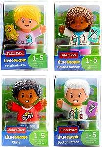 Little People Fisher-Price Set of 4 Figures - Dentist Audrey, Chris, Doctor Nathan & Veterinarian Ella