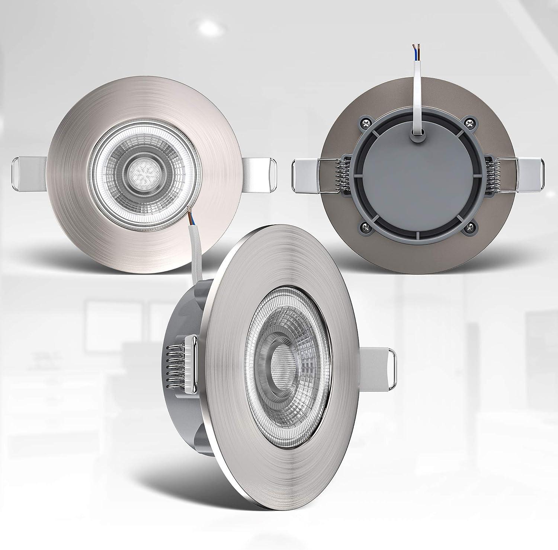 luce calda 3000K plastica color nichel opaco 230V IP44 set da 3 460Lm foro /Ø68mm Faretti LED da incasso dimmerabili ultrapiatti per bagno rotondi LED integrati 5W