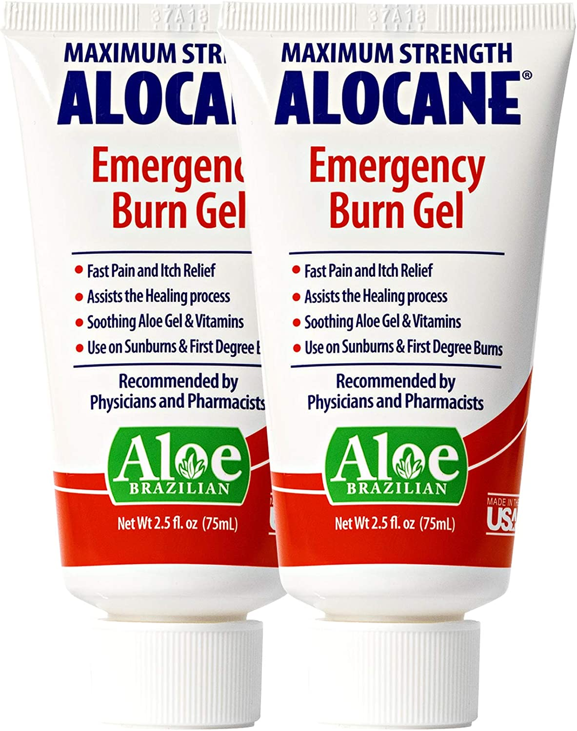 Alocane® Emergency Burn Gel, 4% Lidocaine Max Strength Fast Pain Itch Relief for Minor Burns, Sunburn, Kitchen, Radiation, Chemical, First Degree Burns, First Aid Treatment Burn Care 2.5 Fl Oz, 2 Pack: Health & Personal Care