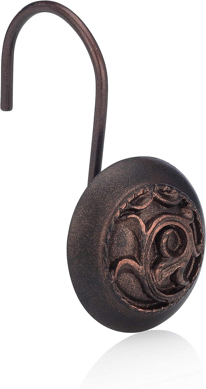 Essentra Home Bronze 12-Piece Shower Curtain Hook Set, Features Rust Free Bronze Hook