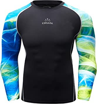 SailBee Mens Long Sleeve Rashguard UPF 50 UV Sun Protection Swim Shirt
