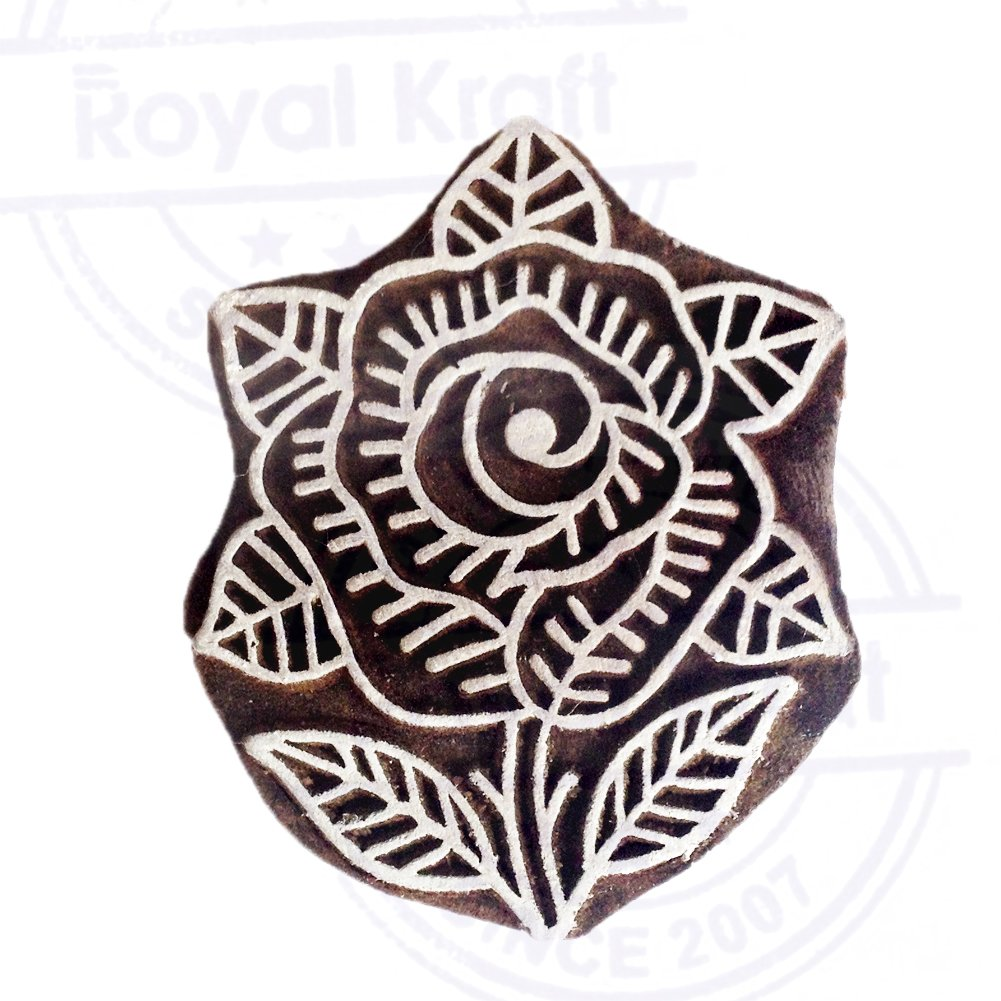 Popular Floral Design Lotus Wooden Block for Printing DIY Henna Fabric Textile Paper Clay Pottery Block Printing Stamp