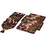 5-Pc Set of Fabric Santa Claus Christmas Dinner Table Runner and Place Mats