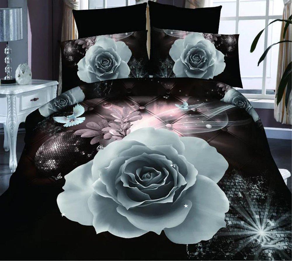 4 Brilliant Weiß Rose 3D Prints Bettbezug Set für Doppelbett Größe
