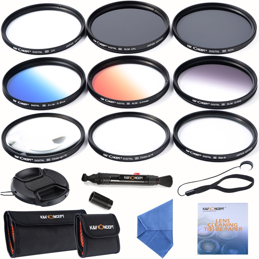 K&F Concept 67mm Lens Filter Kit Slim UV Slim CPL Circular Polarizing Macro Close Up +4 +10 Slim Graduated Color Orange Blue Grey Point Star 6 Filters for Nikon DSLR Camera with 18-105mm Lens by K&F Concept