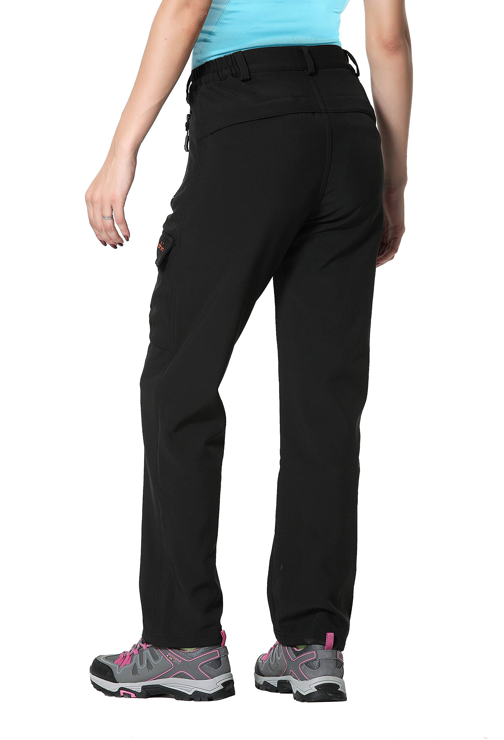 Clothin Women's Fleece Lined Soft Shell Cargo Pants Water Repellent, Wind Resistant