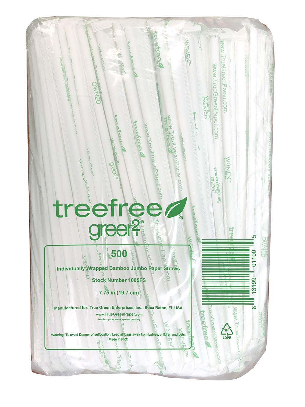 Individually Wrapped Jumbo Bamboo Paper Straws 10.25'' 6000 ct by Green2