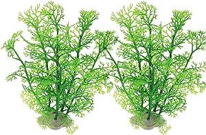 JIH Aquarium Decor Plastic Plant Small,Fish Tank Decoration Ornament Artificial Plants 8 inch (Green 2 Pcs)