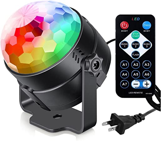 Sound Activated Party Lights With Remote Control Dj Lighting Rbg Disco Ball Strobe Lamp 7 Modes Stage Par Light For Home Room Dance Parties Birthday