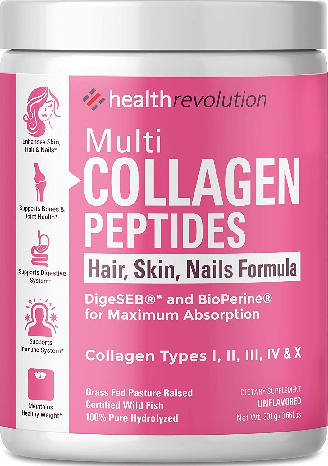 Health Revolution Multi Collagen Powder for Women – 5 Hydrolyzed Collagen Peptides Types I, II, III, IV, and X – Supports Joints, Skin, Hair and Nails – Non-GMO, Gluten-Free, Unflavored