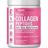 Multi Collagen Powder for Women Triple Refined for Easiest Mixing, 5 Hydrolyzed Collagen Peptides Types I, II, III, IV, X–Sup