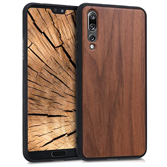 info for bad95 5ecf6 kwmobile Wooden Protective Cover for Huawei P20 Pro - Hard case with TPU  Bumper Walnut in Dark Brown