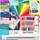 "Silhouette Cameo 3 Bluetooth Starter Bundle with 26 -12"" x 12"" Oracal 651 Sheets, Transfer Paper, Guide, Class, 24 Sketch Pens"
