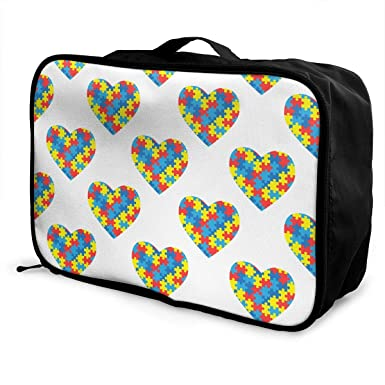 7dc4397b54a7 Amazon.com: World Autism Awareness Day Pattern Weekender Tote Bag ...