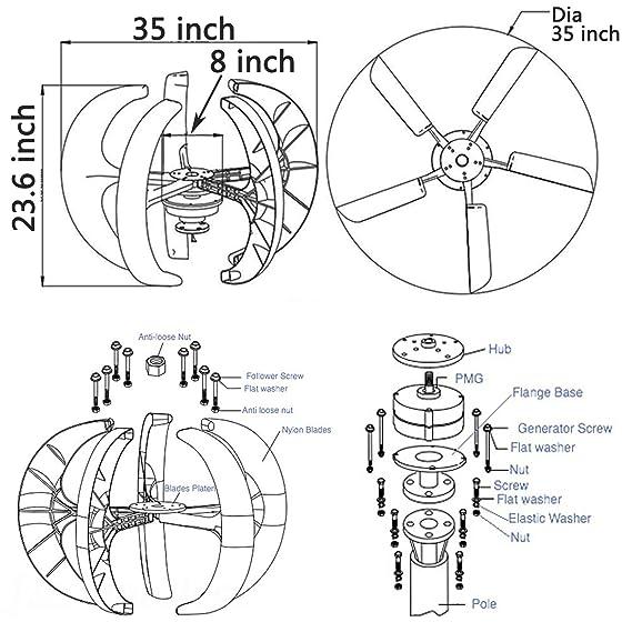 Amazon Com Lovshare 100w Dc 12v Wind Turbine Generator Kit 5pcs