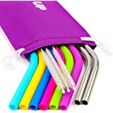 REGULAR SIZE Silicone Straws for 890ml Tumbler & Stainless Steel Straws Bundle - 6 Silicone Straws for Yeti/Rtic/Ozark + 2 Brushes + 2 Metal Straws - Reusable Straws Extra Long + 1 Storage Pouch