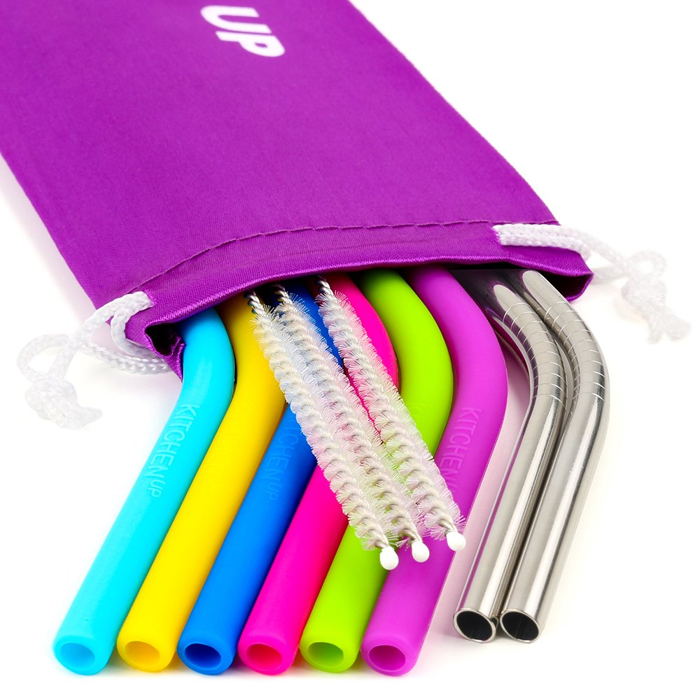 REGULAR SIZE Silicone Straws for 30 oz Tumbler Stainless Steel Straws Bundle 6 Silicone Straws for Yeti Rtic Ozark 3 Brushes 2 Metal Straws Reusable Straws Extra Long 1 Storage Pouch