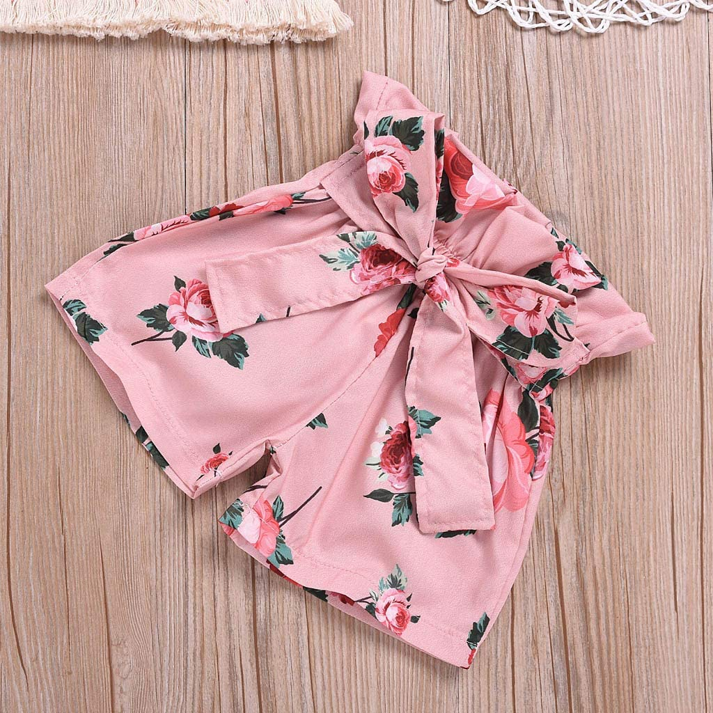 SSZZoo Toddler Baby Kids Girl Summer Set Vest Tassel Sleeveless Tops+Floral Bow Shorts Outfits