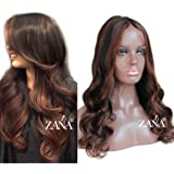 ZANA Brazilian Virgin Hair Full Lace Front Human Hair Wigs Two Tone Ombre Lace Front Wigs for Black Women 1b/33 Highlight Wig