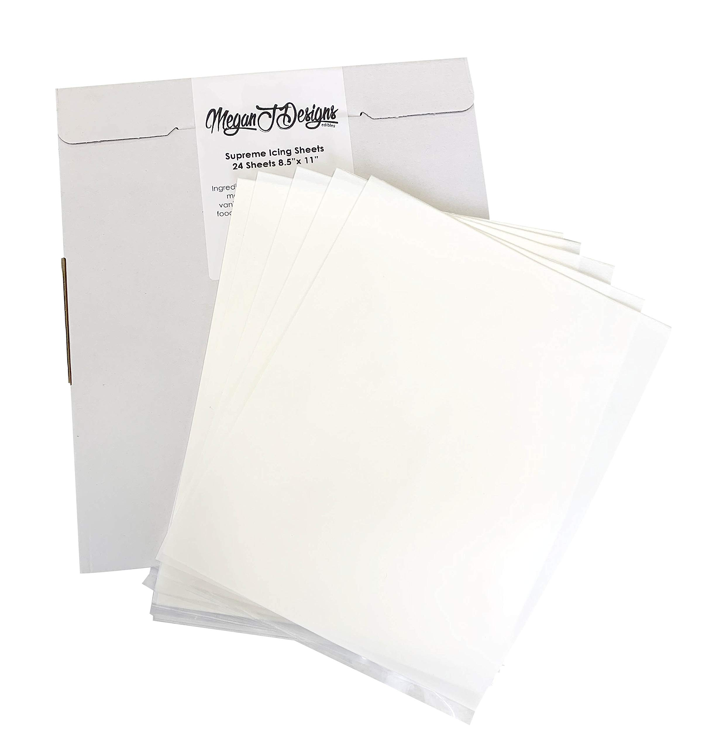 Supreme Icing Sheets 24 Pack Premium White 8.5'' x 11'' by MeganJDesigns