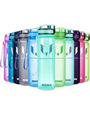 MAIGG Best Sports Water Bottle - 17oz/32oz - Eco Friendly BPA Free Plastic - For Running, Gym, Yoga, Outdoors and Camping, Fast Water Flow, Flip Top, Opens With 1 Click, Reusable with Leak-proof Lid
