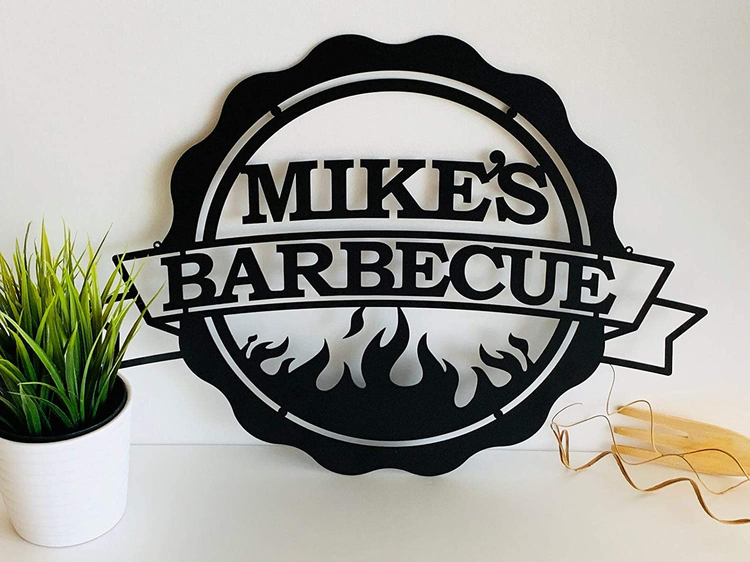 Personalized BBQ Grill Name Sign Dad's BBQ Custom Metal Sign Home Decoration Wall Art Decor Barbecue Garden Bar Outdoor Housewarming Birthday Gift Metal Sign Patio Decor Wall Hanging Grandpa Papa Gift