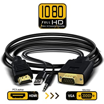 1080P Full HD HDMI a VGA convertidor Cable adaptador con 3,5 mm Salida de