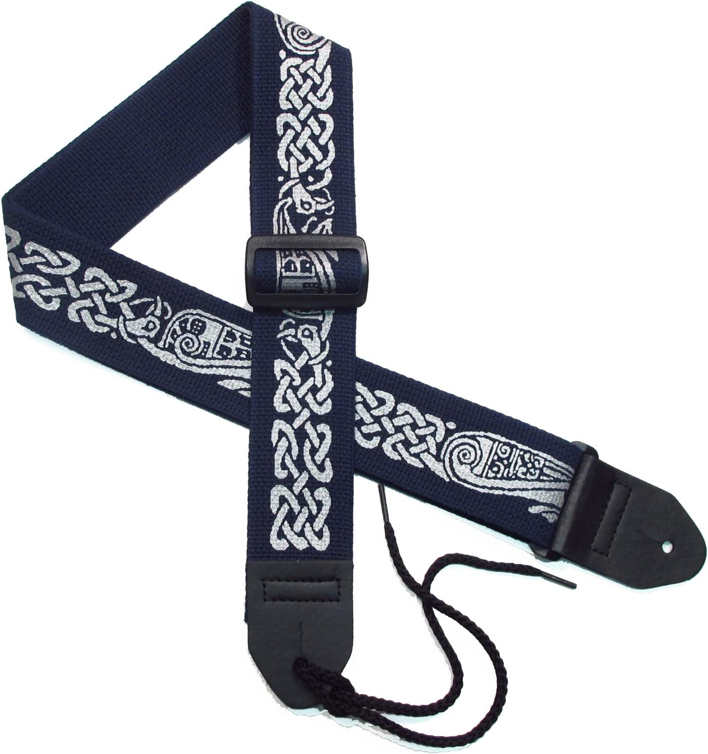 Green on Black Legacystraps Celtic Knot 2 Cotton Guitar Strap Celtic Design #1