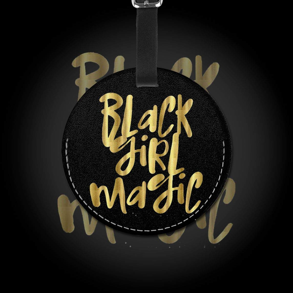 Free-2 Black Girl Magic Logo Luggage Tag 3D Print Leather Travel Bag ID Card