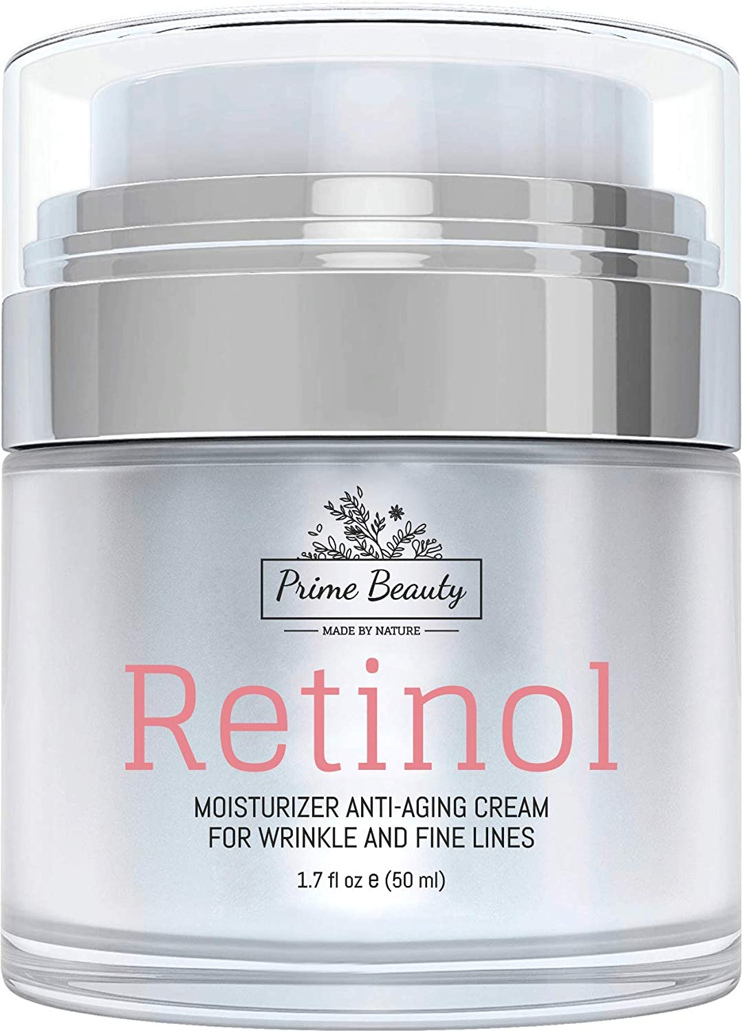 Prime Beauty Retinol Moisturizer Cream for Face and Eye Area – With Hyaluronic Acid, Jojoba Oil, Vitamin E, Retinol – Anti Aging, Anti Wrinkle, Fine Lines – Organic Skin Care – Day and Night Cream 1.7