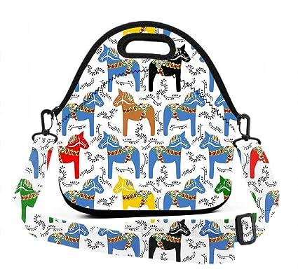 dffb57ceca56 Amazon.com - BesArts Lunch Bag, Dala Horses Upgraded, Neoprene ...