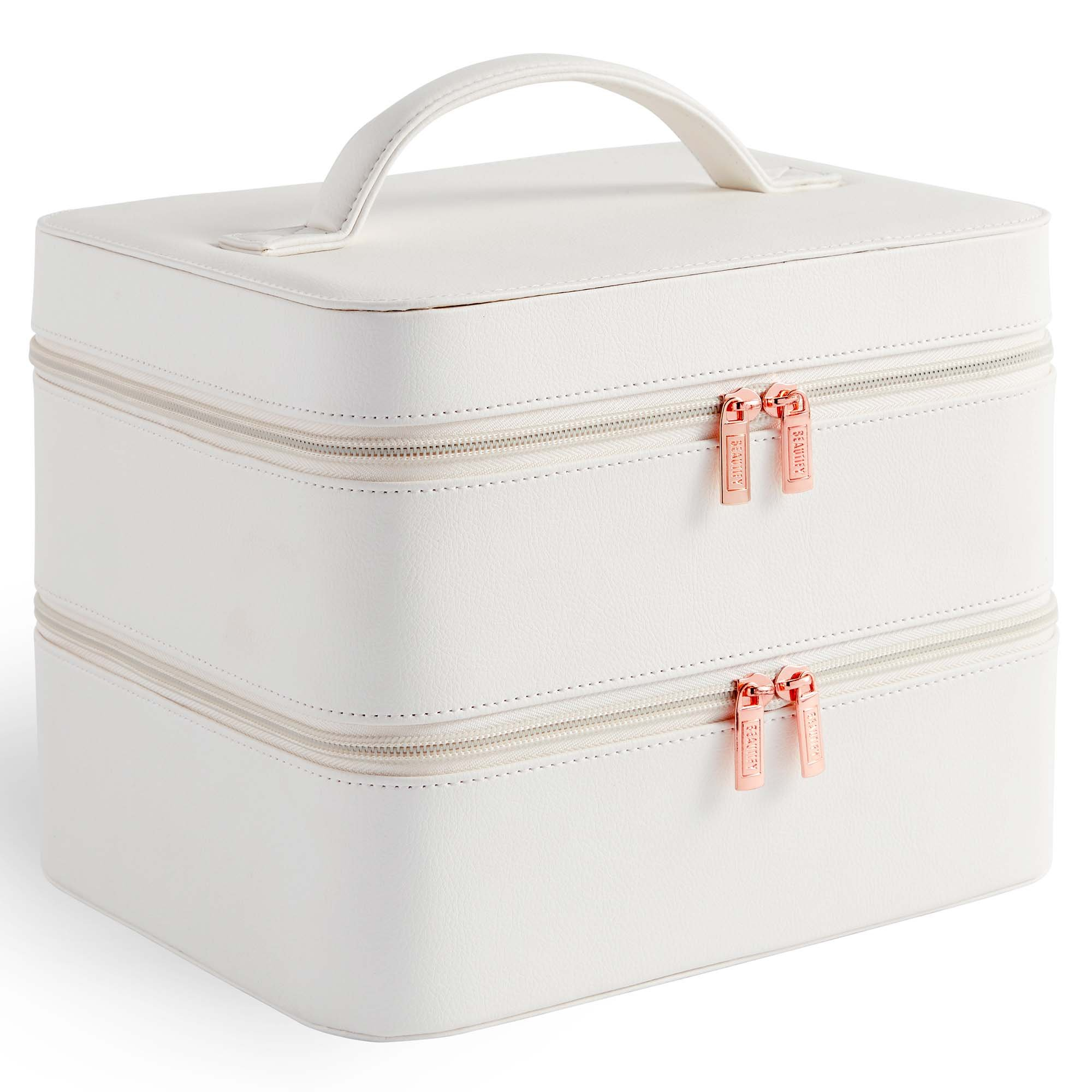 Beautify White Faux Leather 2 Tier Cosmetic Case Including Grid Compartment with Removable Dividers, for Jewelry, Make Up, Cosmetics, Brushes and More