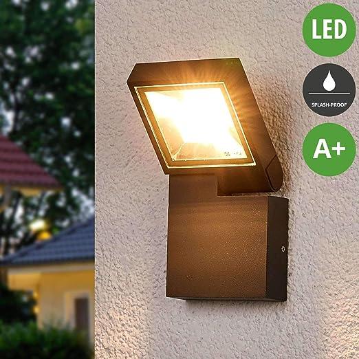 Lampenwelt Alijana - Lámpara LED para exteriores (resistente a salpicaduras) (moderna) en aluminio (1 foco, A+, incluye bombilla) – Foco exterior exterior, foco para jardín, terraza, balcón y casa: Amazon.es: Iluminación