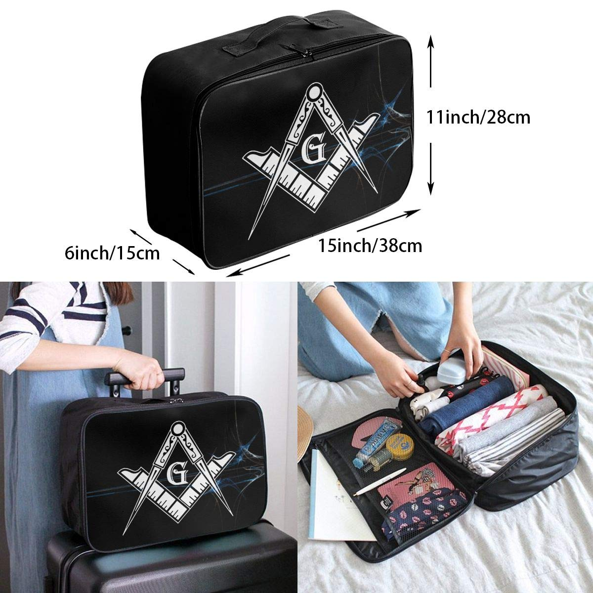 Unisex Travel Duffel Bag Waterproof Fashion Lightweight Large Capacity Portable Luggage Bag Freemason Logo