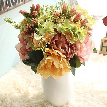 Amazon.com: Rumas DY7-15 Artificial Peony Hydrangea Flowers Bouquet ...