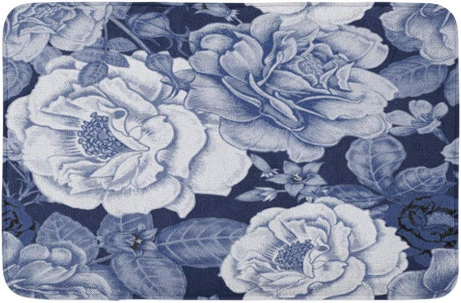 Adowyee Bath Mat Design for Fabrics Iles Paper Web Roses Peonies Anemones Bluebells Retro Vintage Cozy Bathroom Decor Bath Rug with Non Slip Backing 16