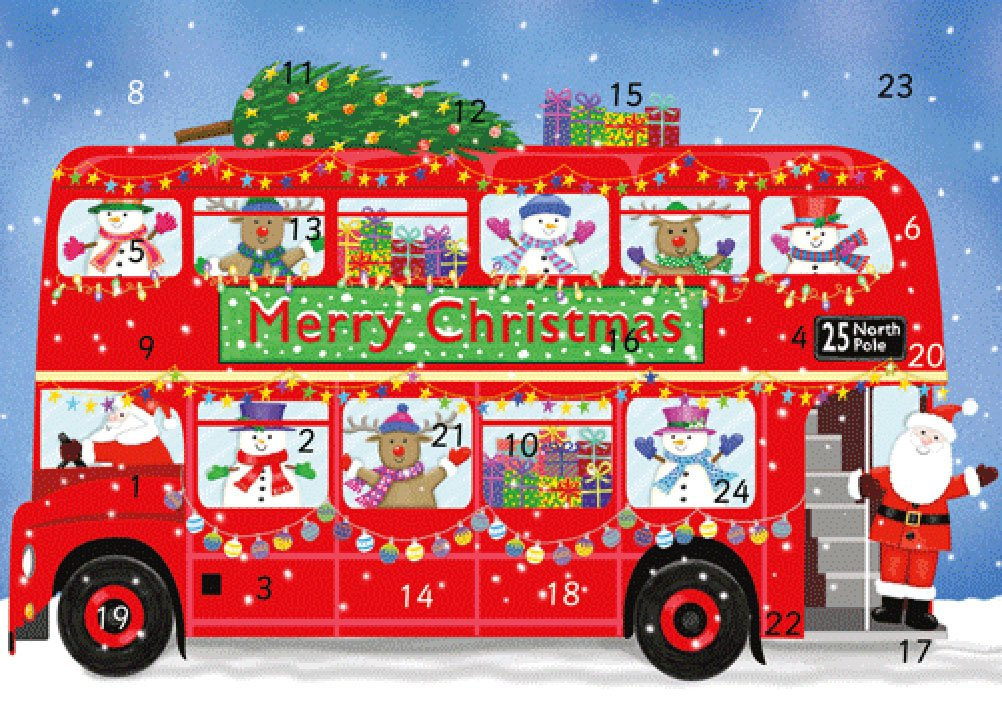 Caspari Advent Card Double Decker London Bus with White Envelope