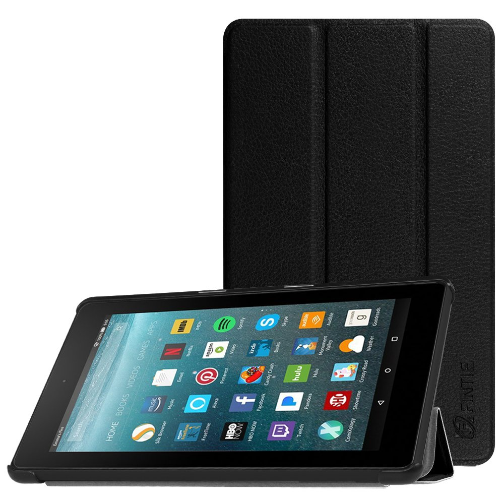 Fintie Slim Case for All-New Amazon Fire 7 Tablet (7th Generation, 2017 Release), Ultra Lightweight Slim Shell Standing Cover with Auto Wake / Sleep, Black