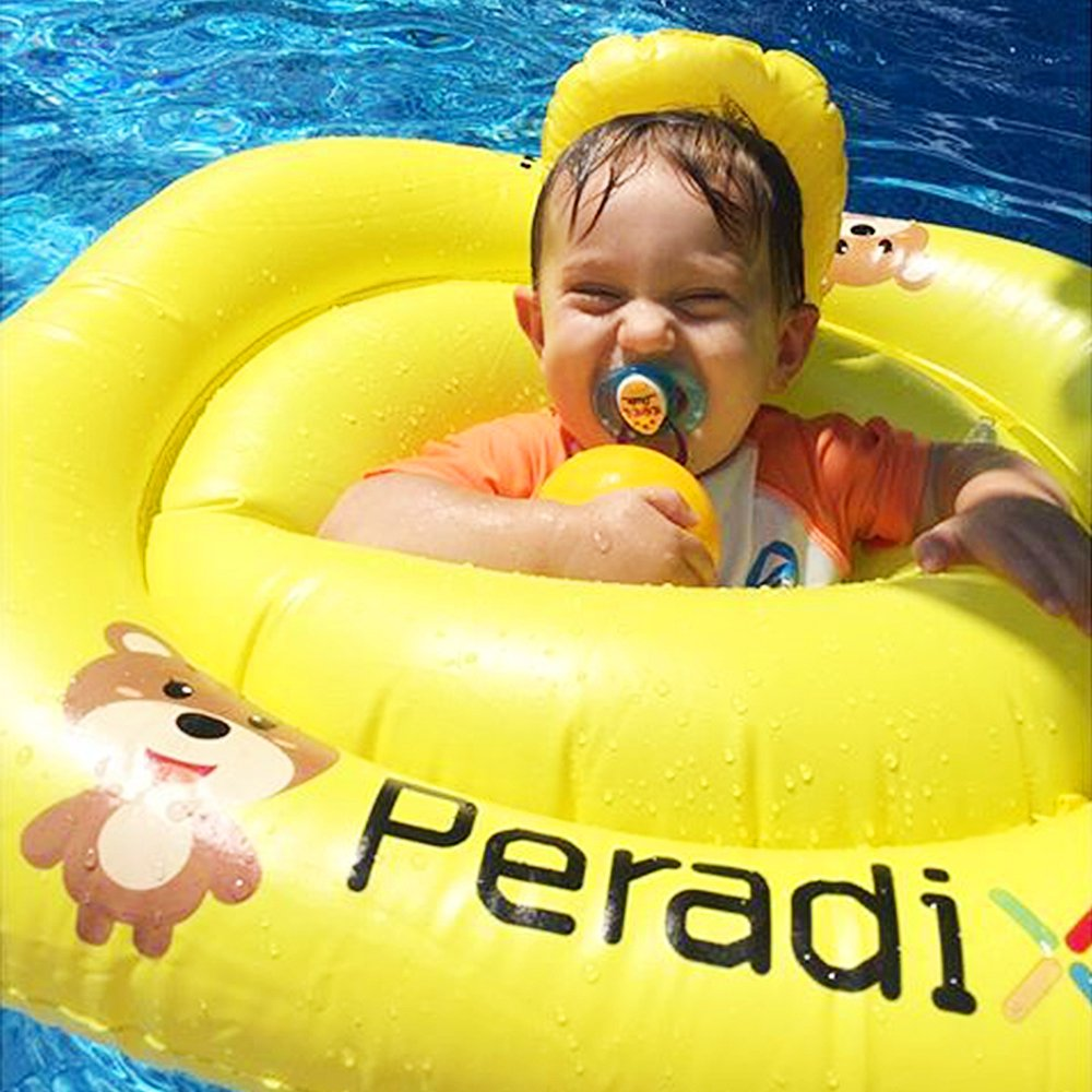Peradix Baby Water Float Kids Inflatable Baby Swimming Ring Pool Dual Inflation Chamber Floats Boat Upgraded Baby Pool Seat with Back Rest Support Floating Toy Yellow