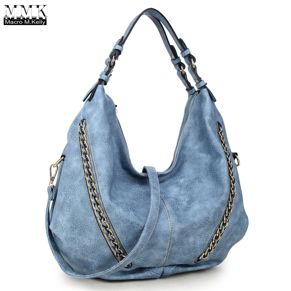 MMK Collection Women Soft Water Wash PU Leather Vintage(6332) Top Dual Handle Crossbody Fashion Cowboy Young Style Chained Hobo Shoulder Bag Handbag (Blue)